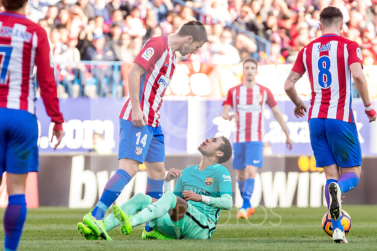 Gabi Fernandez of Atletico de Madrid and Neymar Santos Jr of Futbol Club Barcelona  during the match of Spanish La Liga between Atletico de Madrid and Futbol Club Barcelona at Vicente Calderon Stadium in Madrid, Spain. February 26, 2017. (ALTERPHOTOS)