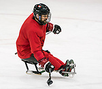 PyeongChang 8/3/2018 - Billy Bridges (#18), of Summerside, PEI, as Canada's sledge hockey team practices ahead of the start of competition at the Gangneung practice venue during the 2018 Winter Paralympic Games in Pyeongchang, Korea. Photo: Dave Holland/Canadian Paralympic Committee