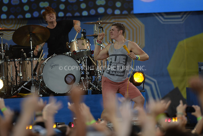 WWW.ACEPIXS.COM<br /> June 13, 2014 New York City<br /> <br /> Hayley Williams (R) of the band Paramore performs with a fan on ABC's 'Good Morning America' at Rumsey Playfield on June 13, 2014 in New York City.<br /> <br /> Please byline: Kristin Callahan/AcePictures<br /> <br /> ACEPIXS.COM<br /> <br /> Tel: (212) 243 8787 or (646) 769 0430<br /> e-mail: info@acepixs.com<br /> web: http://www.acepixs.com