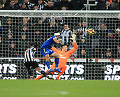 9th December 2017, St James Park, Newcastle upon Tyne, England; EPL Premier League football, Newcastle United versus Leicester City; Ayoze Pérez of Newcastle United scores an own goal past Karl Darlow of Newcastle United with Shinji Okazaki of Leicester City putting him under heavy pressure which won the match for Leicester City 2-3 in the 86th minute