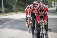 Marcel Sieberg (DEU/Lotto-Soudal) leading his teammates during TTT recon/training<br /> <br /> 12th Eneco Tour 2016 (UCI World Tour)<br /> stage 5 (TTT) Sittard-Sittard (20.9km) / The Netherlands