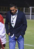 TUNJA – COLOMBIA, 12-10-2018: Diego Andres Corredor técnico de Patriotas Boyacá gesticula durante partido contra Rionegro Aguilas por la fecha 14 de la Liga Águila II 2018 realizado en el estadio La Independencia de Tunja. / Diego Andres Corredor coach of Patriotas Boyaca gestures during match against Rionegro Aguilas  for the date 14 of Aguila League II 2018 played at La Independencia stadium in Tunja. Photo: VizzorImage / Jose Palencia / Cont
