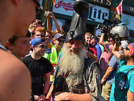 Cleveland, OH - July 20, 2016: Performance artist and satirist Vermin Supreme chats with people during the Republican National Convention in Cleveland, Ohio, July 20, 2016.  (Photo by Don Baxter/Media Images International)