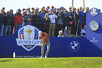Alex Noren (Team Europe) on the 10th tee during Saturday Foursomes at the Ryder Cup, Le Golf National, Ile-de-France, France. 29/09/2018.<br /> Picture Thos Caffrey / Golffile.ie<br /> <br /> All photo usage must carry mandatory copyright credit (© Golffile | Thos Caffrey)