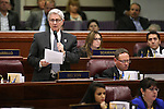 Nevada Assemblyman Erven Nelson, R-Las Vegas, speaks during Assembly floor debate at the Legislative Building in Carson City, Nev., on Sunday, May 31, 2015.  <br /> Photo by Cathleen Allison