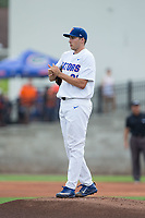 Florida Gators starting pitcher Alex Faedo (21) rubs up the baseball during the game against the Wake Forest Demon Deacons in Game One of the Gainesville Super Regional of the 2017 College World Series at Alfred McKethan Stadium at Perry Field on June 10, 2017 in Gainesville, Florida.  (Brian Westerholt/Four Seam Images)
