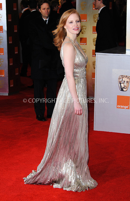 WWW.ACEPIXS.COM . . . . .  ..... . . . . US SALES ONLY . . . . .....February 12 2012, London....Jessica Chastain at the Orange British Academy Film Awards (aka the BAFTAs) held at the Royal Opera House on February 12 2012 in London ....Please byline: FAMOUS-ACE PICTURES... . . . .  ....Ace Pictures, Inc:  ..Tel: (212) 243-8787..e-mail: info@acepixs.com..web: http://www.acepixs.com