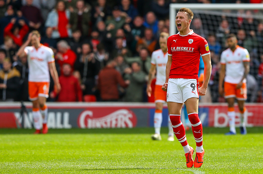Barnsley's Cauley Woodrow celebrates scoring his side's first goal <br /> <br /> Photographer Alex Dodd/CameraSport<br /> <br /> The EFL Sky Bet League One - Barnsley v Blackpool - Saturday 27th April 2019 - Oakwell - Barnsley<br /> <br /> World Copyright © 2019 CameraSport. All rights reserved. 43 Linden Ave. Countesthorpe. Leicester. England. LE8 5PG - Tel: +44 (0) 116 277 4147 - admin@camerasport.com - www.camerasport.com