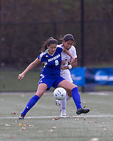 Boston College midfielder Chelsea Regan (2) and Hofstra University forward Salma Tarik (8) battle for the ball. Boston College defeated Hofstra University, 3-1, in second round NCAA tournament match at Newton Soccer Field, Newton, MA.
