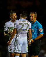 Leeds United's Kalvin Phillips and Jack Harrison have a word with referee Oliver Langford<br /> <br /> Photographer Alex Dodd/CameraSport<br /> <br /> The Carabao Cup Second Round- Leeds United v Stoke City - Tuesday 27th August 2019  - Elland Road - Leeds<br />  <br /> World Copyright © 2019 CameraSport. All rights reserved. 43 Linden Ave. Countesthorpe. Leicester. England. LE8 5PG - Tel: +44 (0) 116 277 4147 - admin@camerasport.com - www.camerasport.com