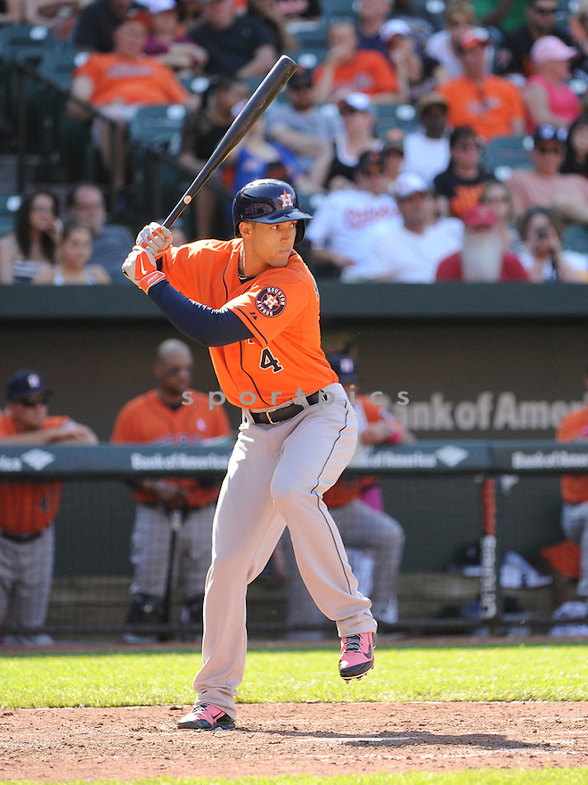 Houston Astros George Springer (4) during a game against the Baltimore Orioles on May 11, 2014 at Oriole Park in Baltimore, MD. The Astros beat the Orioles 5-2.