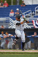 West Virginia Black Bears first baseman Jose Barraza (23) at bat during a game against the Batavia Muckdogs on June 25, 2017 at Dwyer Stadium in Batavia, New York.  Batavia defeated West Virginia 4-1 in nine innings of a scheduled seven inning game.  (Mike Janes/Four Seam Images)