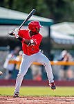 29 July 2018: Batavia Muckdogs infielder Demetrius Sims at bat against the Vermont Lake Monsters at Centennial Field in Burlington, Vermont. The Lake Monsters defeated the Muckdogs 4-1 in NY Penn League action. Mandatory Credit: Ed Wolfstein Photo *** RAW (NEF) Image File Available ***