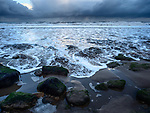 Rain Clouds over the North Sea from the Shoreline at Cayton Bay Scarborough North Yorkshire England