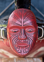 Maori Figurehead on War Canoe on display at Waitangi Treaty Grounds, Paihia, north island, New Zealand.