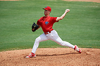 Clearwater Threshers relief pitcher Tyler Gilbert (26) delivers a pitch during the first game of a doubleheader against the Lakeland Flying Tigers on June 14, 2017 at Spectrum Field in Clearwater, Florida.  Lakeland defeated Clearwater 5-1.  (Mike Janes/Four Seam Images)
