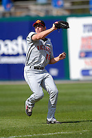 OF Dustin Martin (#16) of the Rochester Red Wings, the AAA International League affiliate of the Minnesota Twins, at McCoy Stadium in Pawtucket, RI  (Photo by Ken Babbitt/Four Seam Images)
