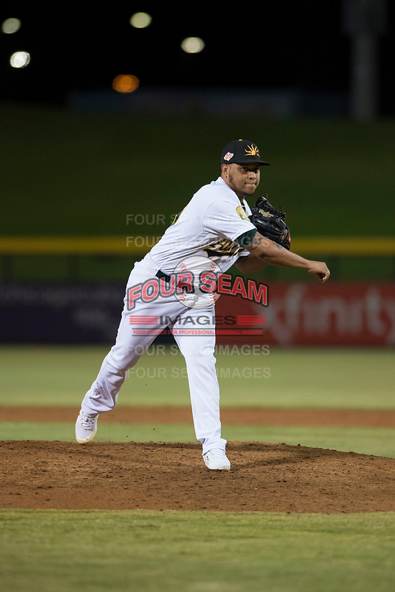 Mesa Solar Sox relief pitcher Angel Duno (79), of the Oakland Athletics organization, follows through on his delivery during an Arizona Fall League game against the Scottsdale Scorpions at Sloan Park on October 10, 2018 in Mesa, Arizona. Scottsdale defeated Mesa 10-3. (Zachary Lucy/Four Seam Images)