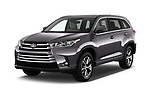 2017 Toyota Highlander LE-Plus 5 Door SUV Angular Front stock photos of front three quarter view