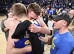 SIOUX FALLS, SD: MARCH 7: Mike Daum and Reed Tellinghuisen embrace after the South Dakota State Jackrabbits defeated Omaha 79-77 in the Men's Summit League Basketball Championship Game on March 7, 2017 at the Denny Sanford Premier Center in Sioux Falls, SD. (Photo by Dave Eggen/Inertia)