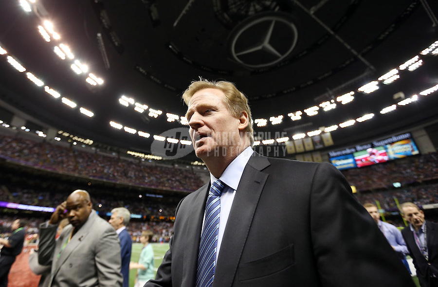 Feb 3, 2013; New Orleans, LA, USA; NFL commissioner Roger Goodell  in attendance before Super Bowl XLVII between the San Francisco 49ers and the Baltimore Ravens at the Mercedes-Benz Superdome. Mandatory Credit: Mark J. Rebilas-