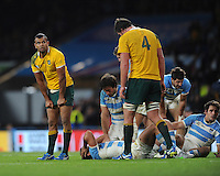 Kurtley Beale of Australia's face shows that both sides face their all during the Semi Final of the Rugby World Cup 2015 between Argentina and Australia - 25/10/2015 - Twickenham Stadium, London<br /> Mandatory Credit: Rob Munro/Stewart Communications