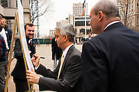 U.S. Soccer president Sunil Gulati signs a document honoring the founding of the US Soccer Federation at a press conference honoring the centennial of U. S. Soccer at City Hall in New York, NY, on April 05, 2013.