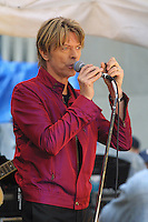 David Bowie performed on the Today Show live in Rockefeller Center in New York City on June 14, 2002.<br />