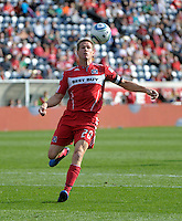Chicago Fire forward Brian McBride (20) runs down a long ball.  The Chicago Fire tied DC United 0-0 at Toyota Park in Bridgeview, IL on Oct. 16, 2010.