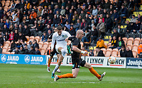 Nick Freeman of Wycombe Wanderers hits a shot past Charlie Clough of Barnet during the Sky Bet League 2 match between Barnet and Wycombe Wanderers at The Hive, London, England on 17 April 2017. Photo by Andy Rowland.