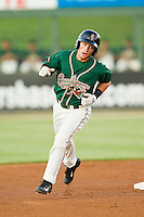 Greensboro Grasshoppers second baseman Blake Barber (8) rounds the bases after hitting a solo home run against the Kannapolis Intimidators at CMC-Northeast Stadium on July 12, 2013 in Kannapolis, North Carolina.  The Grasshoppers defeated the Intimidators 2-1.   (Brian Westerholt/Four Seam Images)