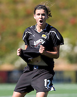 Christine Sinclair of Gold Pride reacts after referee declared no goal during the game against Sky Blue at Pioneer Stadium - CSU Easy Bay, Hayward, California on June 27th, 2010.  Sky Blue FC defeated Gold Pride, 2-0.