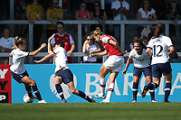 Vivianne Miedema of Arsenal scores the fourth goal for her team and celebrates with her team mates during Arsenal Women vs Tottenham Hotspur Women, Friendly Match Football at Meadow Park on 25th August 2019
