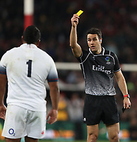 Referee:Ben O'Keeffe (NZ)  showing Mako Vunipola of England yellow card during the 2018 Castle Lager Incoming Series 1st Test match between South Africa and England at Emirates Airline Park,<br /> Johannesburg.South Africa. 09,06,2018 Photo by (Steve Haag Sports)
