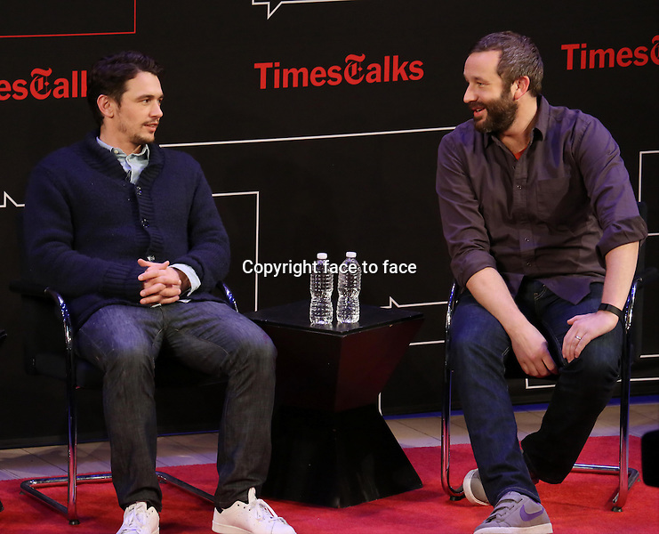 James Franco and Chris O'Dowd onstage at TimesTalks Presents 'An Evening With James Franco And Chris O'Dowd' at the Times Center on March 7, 2014 in New York City.<br />