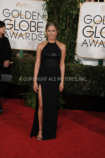 WWW.ACEPIXS.COM<br /> <br /> January 11 2015, LA<br /> <br /> Jennifer Aniston arriving at the 72nd Annual Golden Globe Awards at The Beverly Hilton Hotel on January 11, 2015 in Beverly Hills, California.<br /> <br /> <br /> By Line: Peter West/ACE Pictures<br /> <br /> <br /> ACE Pictures, Inc.<br /> tel: 646 769 0430<br /> Email: info@acepixs.com<br /> www.acepixs.com