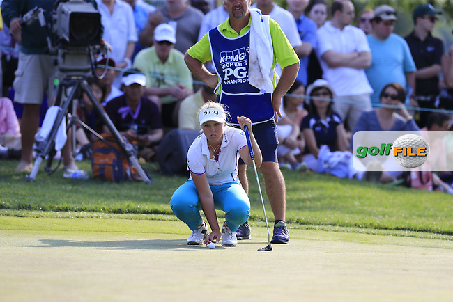 Brooke Henderson (CAN) on the 18th green during Sunday's Final Round of the 2015 KPMG Women's PGA Championship held at Westchester Country Club, Harrison, New York, USA. 6/14/2015.<br /> Picture &copy; Golffile/Eoin Clarke