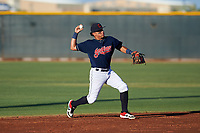 AZL Indians Red second baseman Jothson Flores (9) throws to first base during an Arizona League game against the AZL Padres 1 on June 23, 2019 at the Cleveland Indians Training Complex in Goodyear, Arizona. AZL Indians Red defeated the AZL Padres 1 3-2. (Zachary Lucy/Four Seam Images)