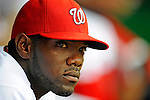 12 April 2008: Washington Nationals' outfielder Elijah Dukes looks out from the dugout prior to a rain delayed game against the Atlanta Braves at Nationals Park, in Washington, DC. The Braves defeated the Nationals 10-2...Mandatory Photo Credit: Ed Wolfstein Photo