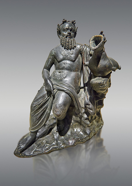 Roman Bronze sculpture of Silenus from atrium of the Villa of the Papyri in Herculaneum, Museum of Archaeology, Italy, grey background