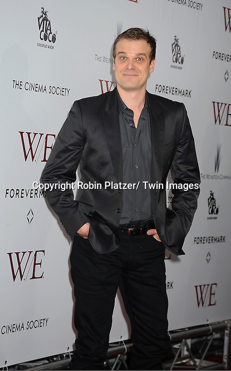 """actor David Harbour arrive for the New York Premiere of """"W.E."""" on .January 23, 2012 at The Ziegfeld Theatre in New York City. Madonna directed the movie. The sponsors of the premiere are The Weinstein Company, The Cinema Society and Forevermark."""