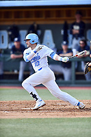 North Carolina Tar Heels second baseman Zach Gahagan (10) swings at a pitch during a game against the Pittsburgh Panthers at Boshamer Stadium on March 17, 2018 in Chapel Hill, North Carolina. The Tar Heels defeated the Panthers 4-0. (Tony Farlow/Four Seam Images)
