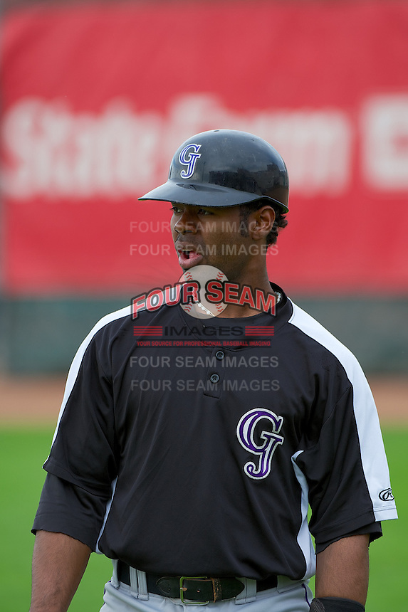 Jairo Rosario (12) of the Grand Junction Rockies prior to the game against the Ogden Raptors at Lindquist Field on September 8, 2013 in Ogden Utah.  (Stephen Smith/Four Seam Images)