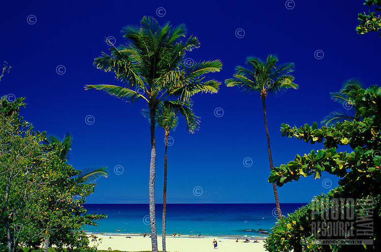 Hapuna state beach on the South Kohala side of the Big island is one of Hawaii's most beautiful white sand beaches.