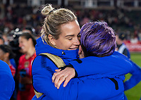 CARSON, CA - FEBRUARY 7: Ashlyn Harris #12 and Megan Rapinoe #15 of the United States embrace during a game between Mexico and USWNT at Dignity Health Sports Park on February 7, 2020 in Carson, California.