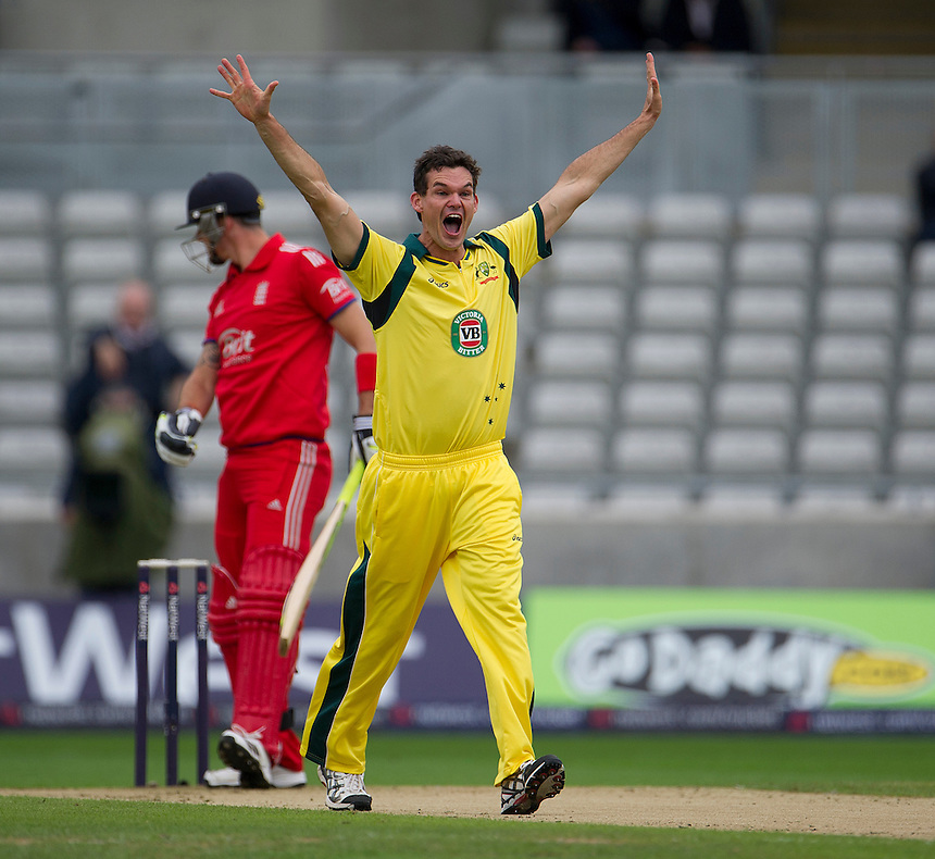 Australia's Clint McKay makes an unsuccessful appeal for LBW<br /> <br /> Photo by Stephen White/CameraSport<br /> <br /> International Cricket - NatWest Series - 3rd ODI -  England v Australia - Wednesday 11th September 2013 - Edgbaston, Birmingham<br /> <br /> &copy; CameraSport - 43 Linden Ave. Countesthorpe. Leicester. England. LE8 5PG - Tel: +44 (0) 116 277 4147 - admin@camerasport.com - www.camerasport.com