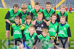 Cullina National school boys Brian Coffey, Paul Murphy, James Suter, Ronan Brosnan, Declan Floyd, Ryan Sweeney, Shane Murphy, Michael Healy, Kevin Coffey, Ronan Buckley, Brendan Cronin and Bryan English enjoying the Killarney Garda football blitz in Fitzgerald Stadium, Killarney on Friday.