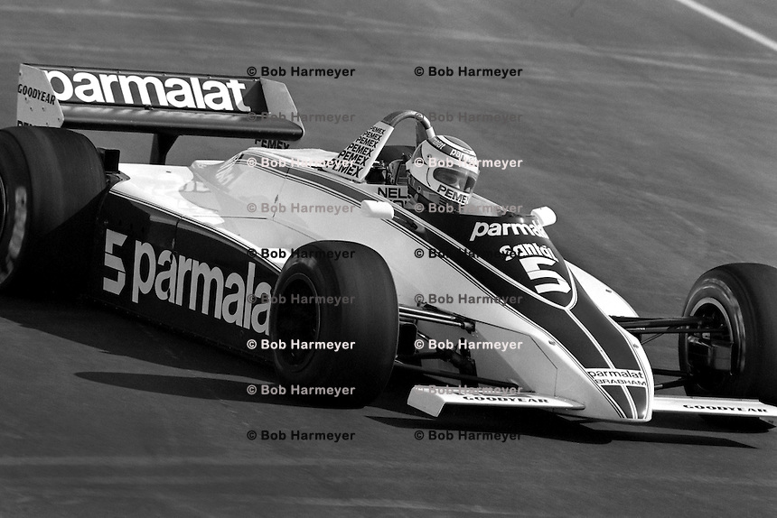 LAS VEGAS, NV - OCTOBER 17: Nelson Piquet drives the Parlamat Racing Team Brabham BT49C 15/Ford Cosworth during the Caesar's Palace Grand Prix FIA Formula One World Championship race on the temporary circuit in Las Vegas, Nevada, on October 17, 1981.