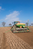 Drilling vining peas using a John Deere 6150 with front mounted Konskilde Terra C cultivator and Amazone AD-P402 combination drill - Lincolnshire, April