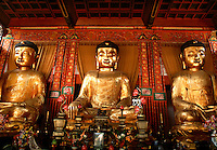 Three Buddha Altar Temple of the Six Banyan Trees Guangzhou China.